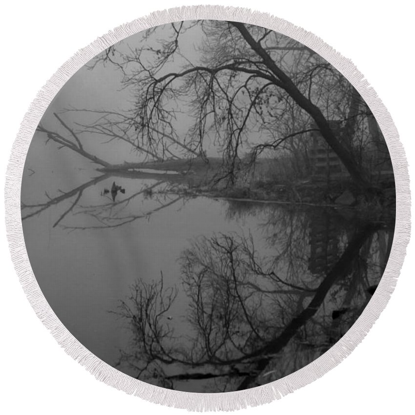 Fog Round Beach Towel featuring the photograph Foggy Reflections by Lauri Novak