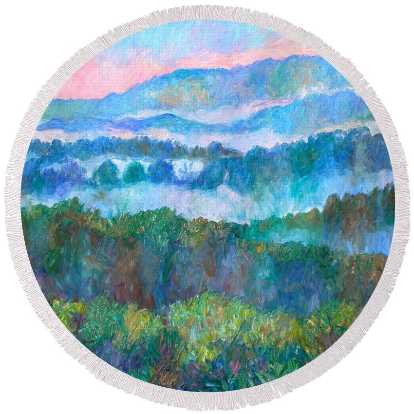 Landscape Round Beach Towel featuring the painting Foggy View From Mill Mountain by Kendall Kessler