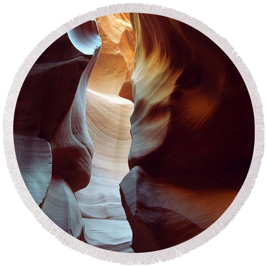 Slot Canyon Round Beach Towel featuring the photograph Follow The Light II by Kathy McClure