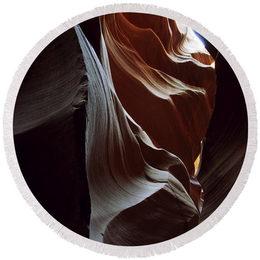 Antelope Canyon Round Beach Towel featuring the photograph Follow The Light by Kathy McClure