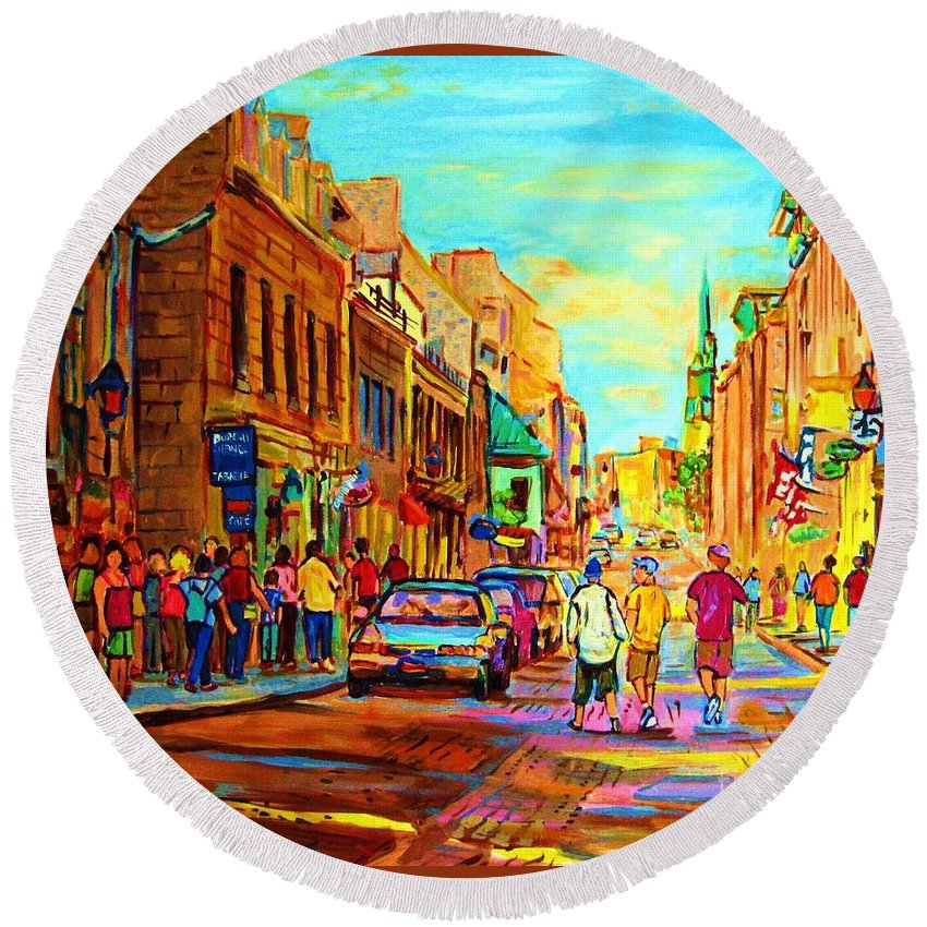 Montreal Round Beach Towel featuring the painting Follow The Yellow Brick Road by Carole Spandau