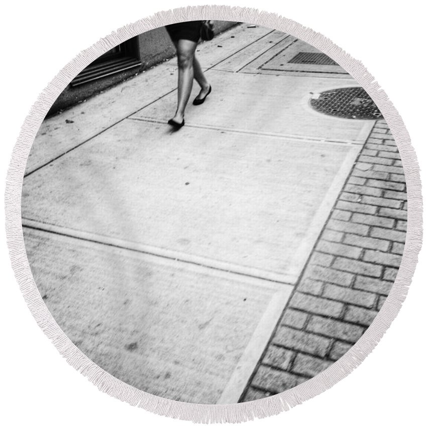 Street Round Beach Towel featuring the photograph Follower by The Artist Project
