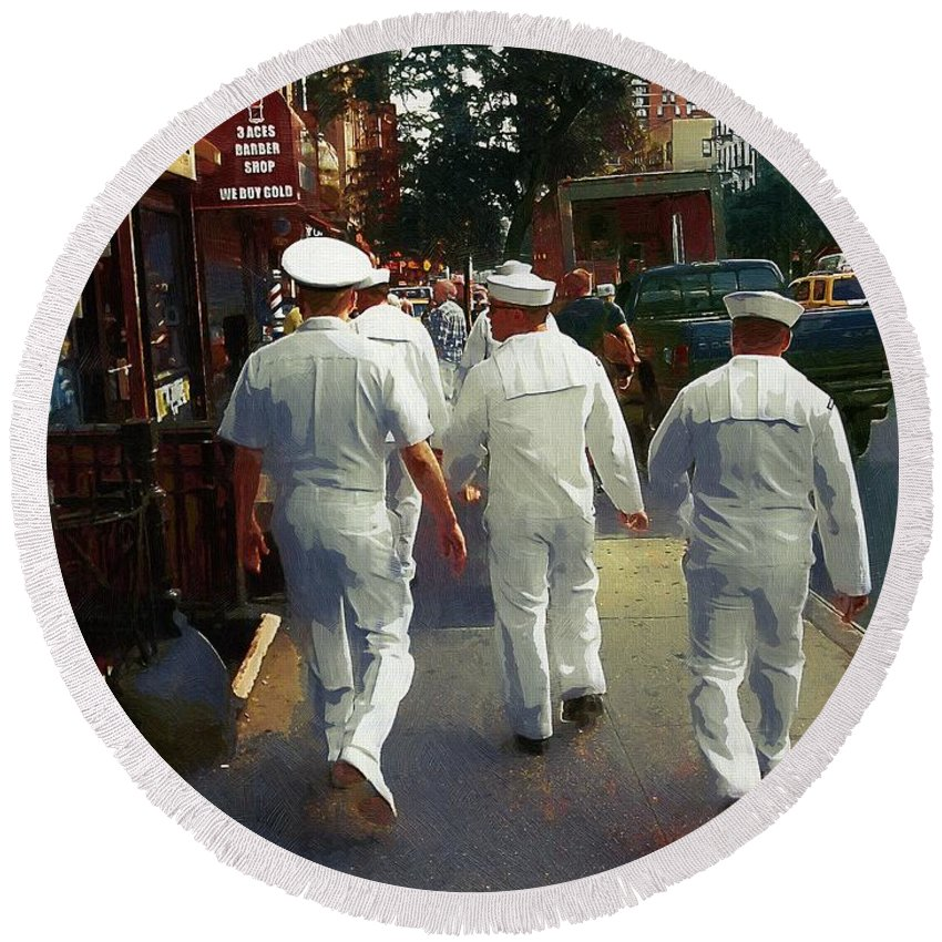 Sailors Round Beach Towel featuring the painting Following The Fleet by RC DeWinter