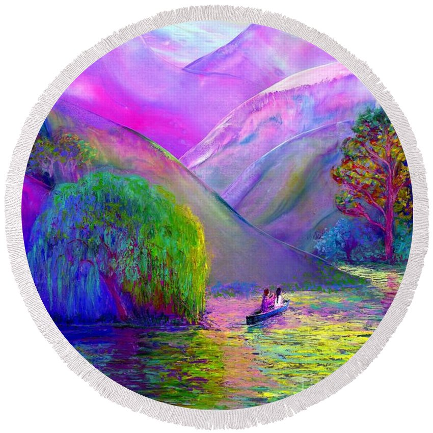Love Round Beach Towel featuring the painting Love Is Following The Flow Together by Jane Small