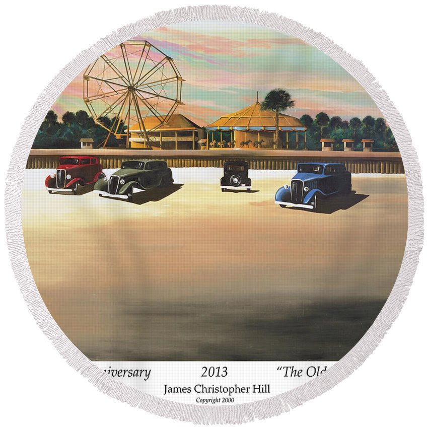 Sunrise Round Beach Towel featuring the painting Folly Beach Carnival by James Christopher Hill