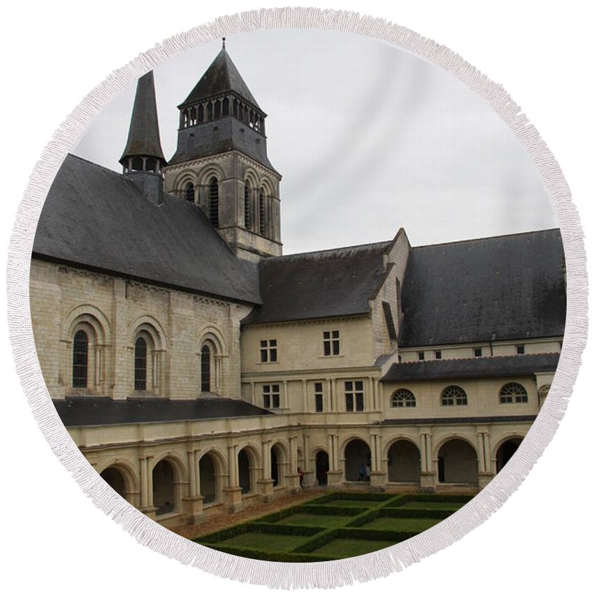 Cloister Round Beach Towel featuring the photograph Fontevraud Abbey Courtyard - France by Christiane Schulze Art And Photography