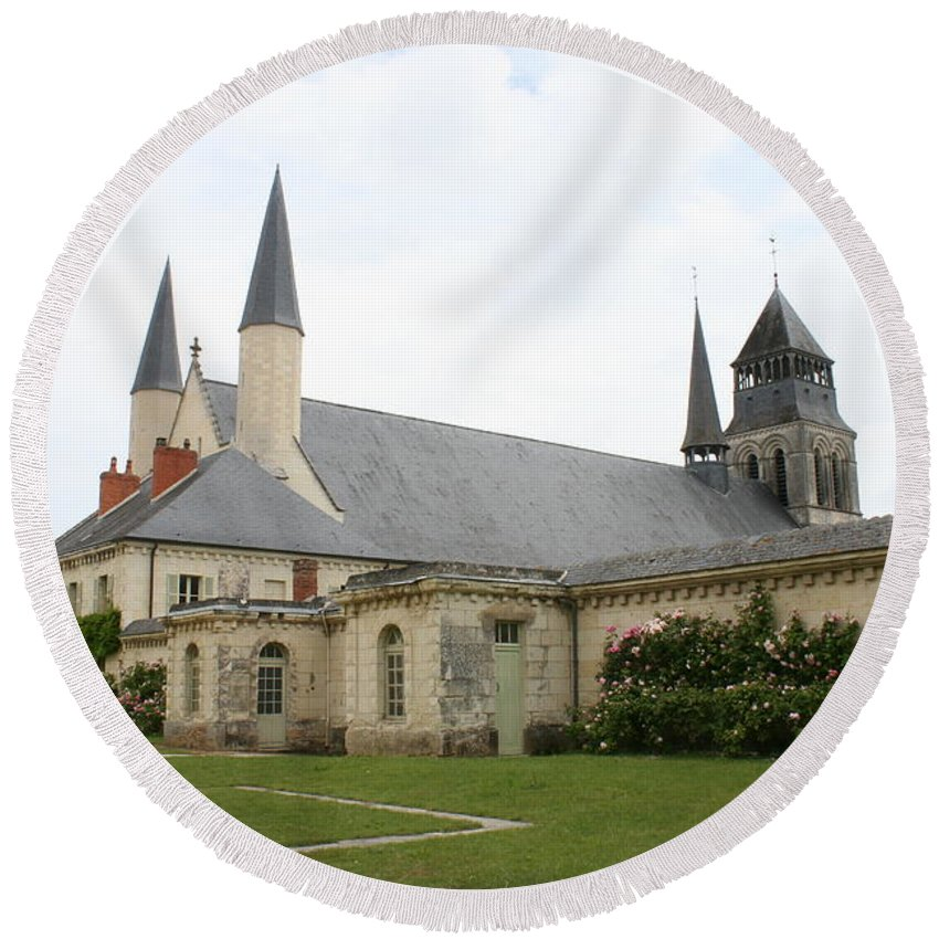 Cloister Round Beach Towel featuring the photograph Fontevraud Abbey - France by Christiane Schulze Art And Photography