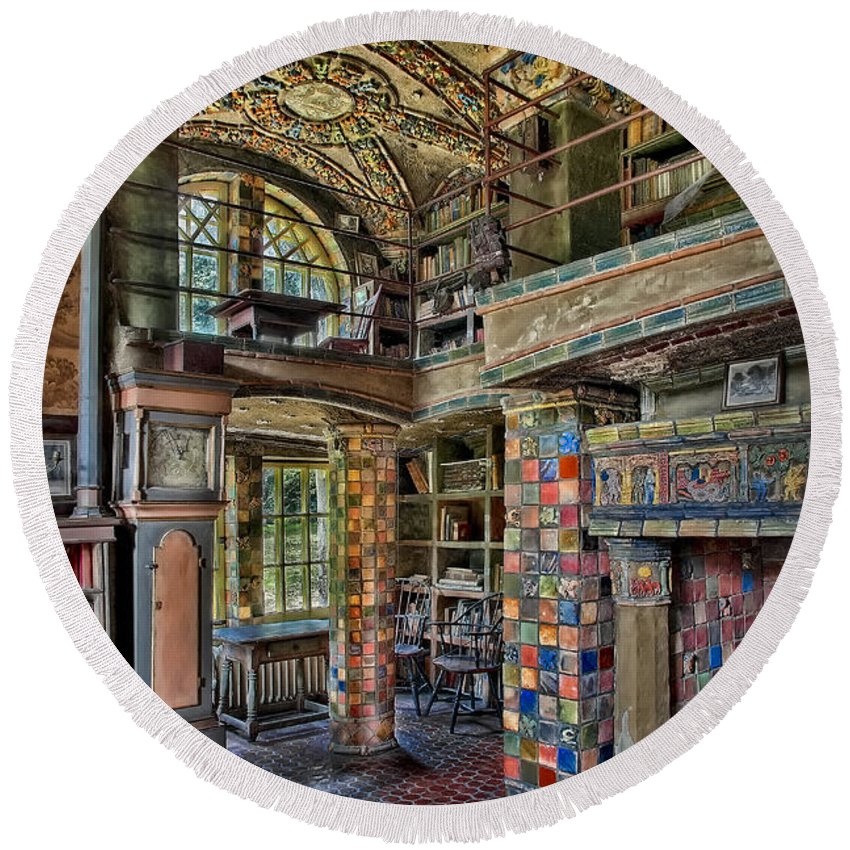 Byzantine Round Beach Towel featuring the photograph Fonthill Castle Library Room by Susan Candelario