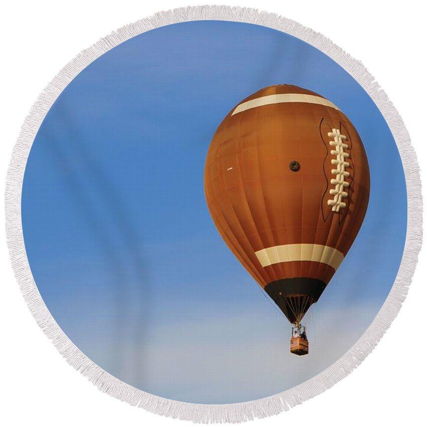 Hot Air Balloon Photograph Round Beach Towel featuring the photograph Football Season by Dan Sproul