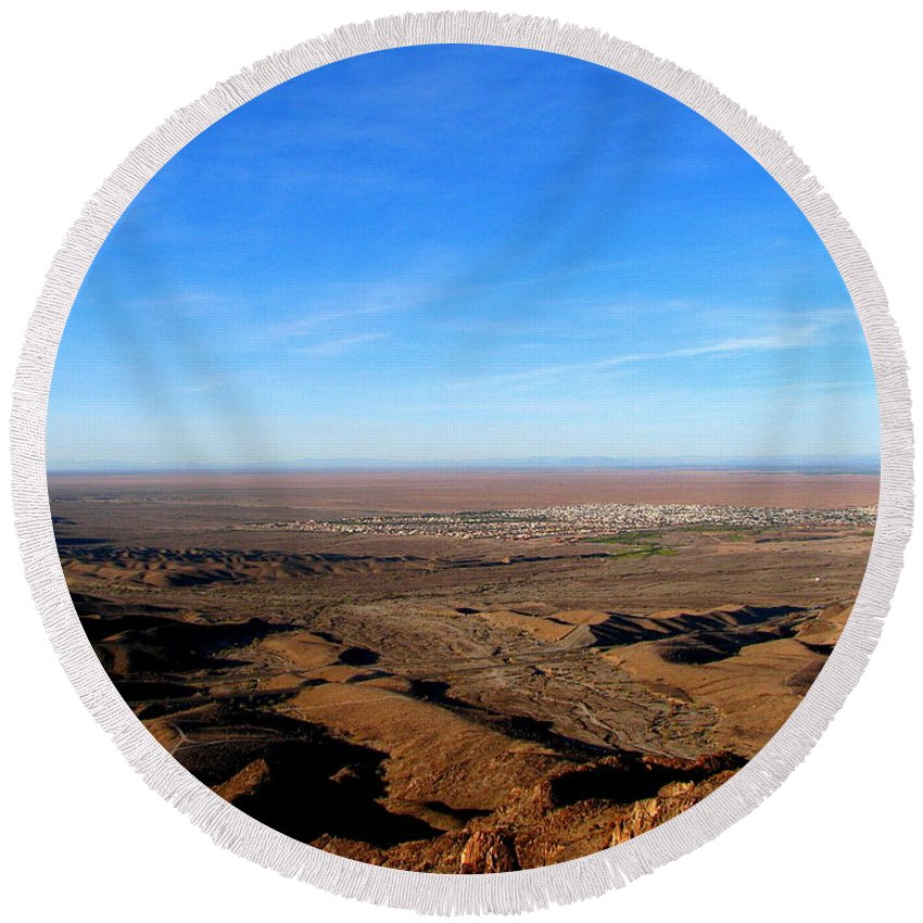 Art For The Wall...patzer Photography Round Beach Towel featuring the photograph Foothills by Greg Patzer