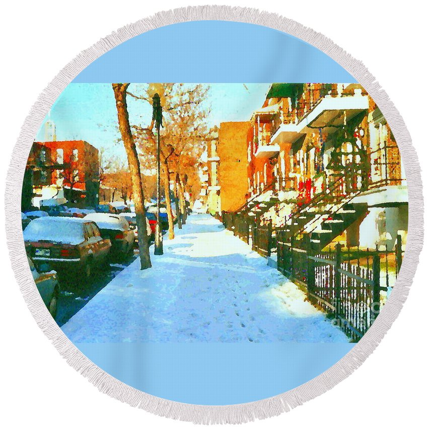 Montreal Round Beach Towel featuring the painting Footprints In The Snow Montreal Winter Street Scene Paintings Verdun Christmas Memories by Carole Spandau