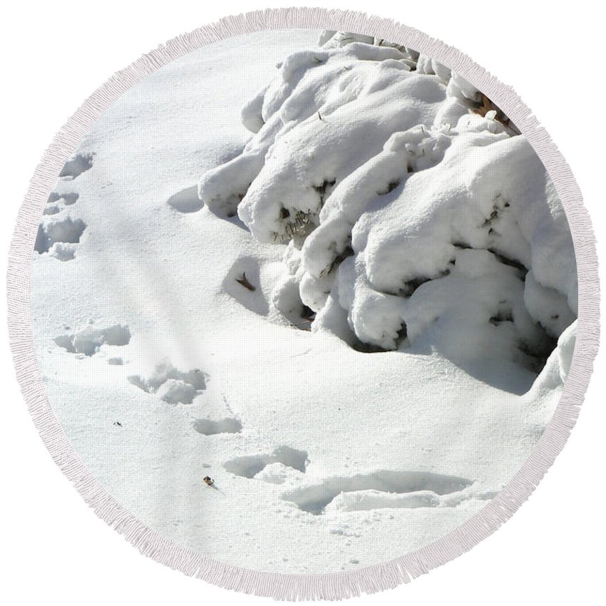Snow Round Beach Towel featuring the photograph footprints in the Snow by Rachel Christine Nowicki