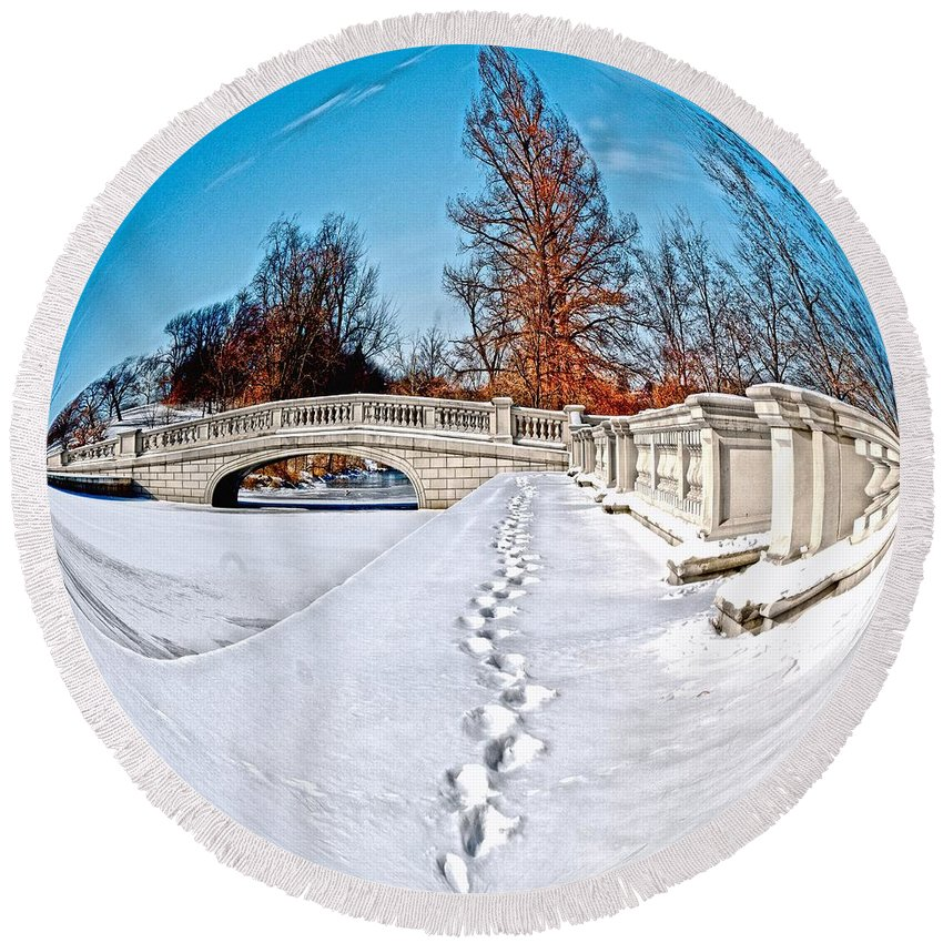 Sphere Round Beach Towel featuring the photograph Footprints In The Snow - Sphere by Larry Jost