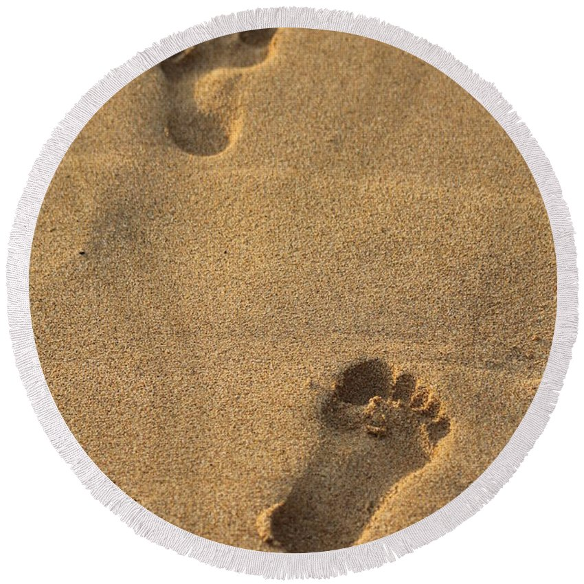 Footprints Round Beach Towel featuring the photograph Footprints by Pamela Walton