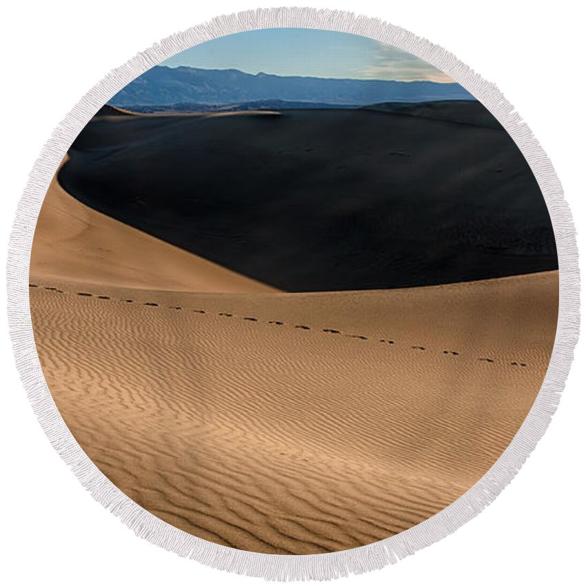 California Round Beach Towel featuring the photograph Footsteps by Peter Tellone