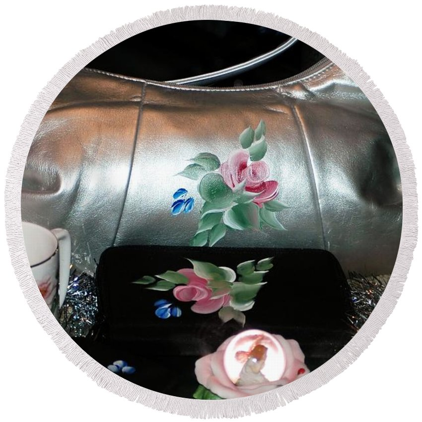 #lady #ladies #woman #woman's #female #purse Round Beach Towel featuring the photograph For The Lady In Your Life by Kathleen Struckle