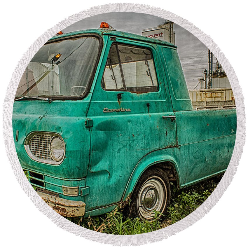 Truck Round Beach Towel featuring the photograph Ford Econoline Pickup by Ken Kobe