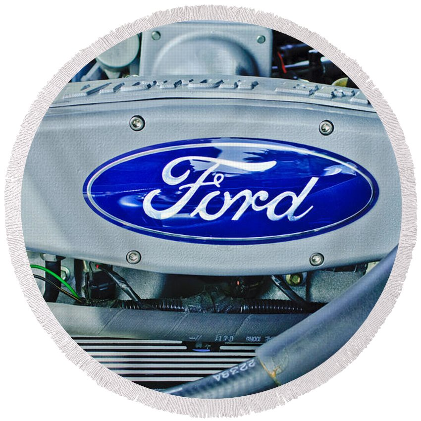 Ford Engine Emblem Round Beach Towel featuring the photograph Ford Engine Emblem by Jill Reger