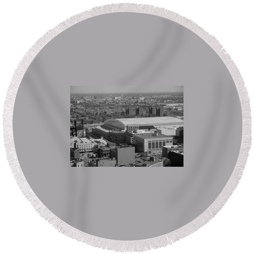 Ford Field Round Beach Towel featuring the photograph Ford Field Bw by Crystal Hubbard