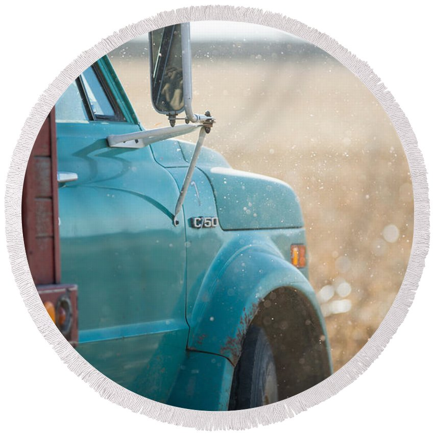 Farming Round Beach Towel featuring the photograph Ford Grain Truck by David Parker