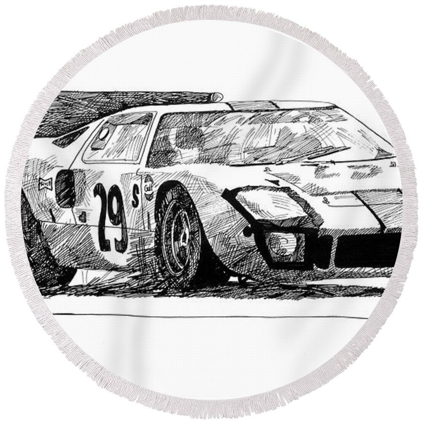 Automotive Round Beach Towel featuring the drawing Ford Gt - 40 by David Lloyd Glover