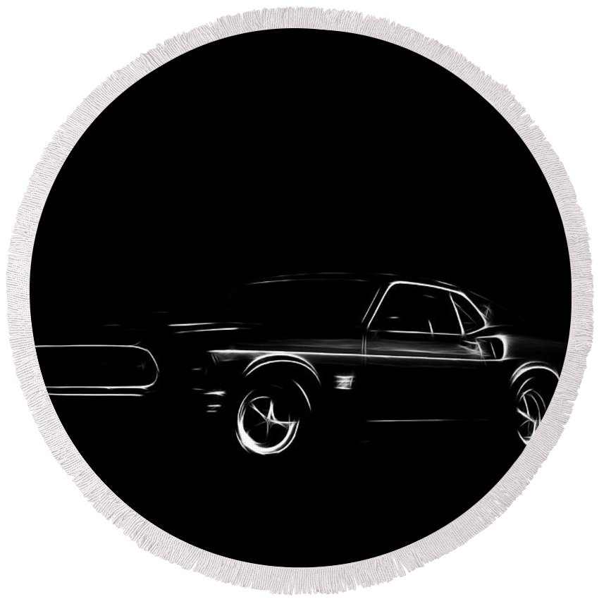 Ford Mustang Car Oldtimer Digital Painting Black White Expressionism Impressionism Motor Sport Sports Round Beach Towel featuring the digital art Ford Mustang by Steve K