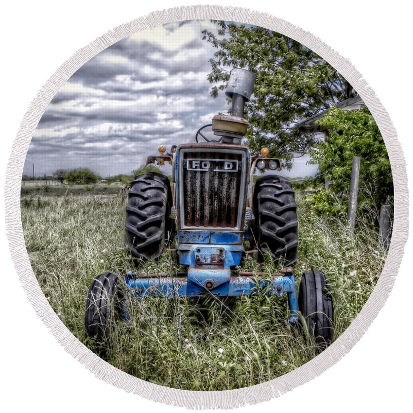 Ford Round Beach Towel featuring the photograph Ford by Savannah Gibbs