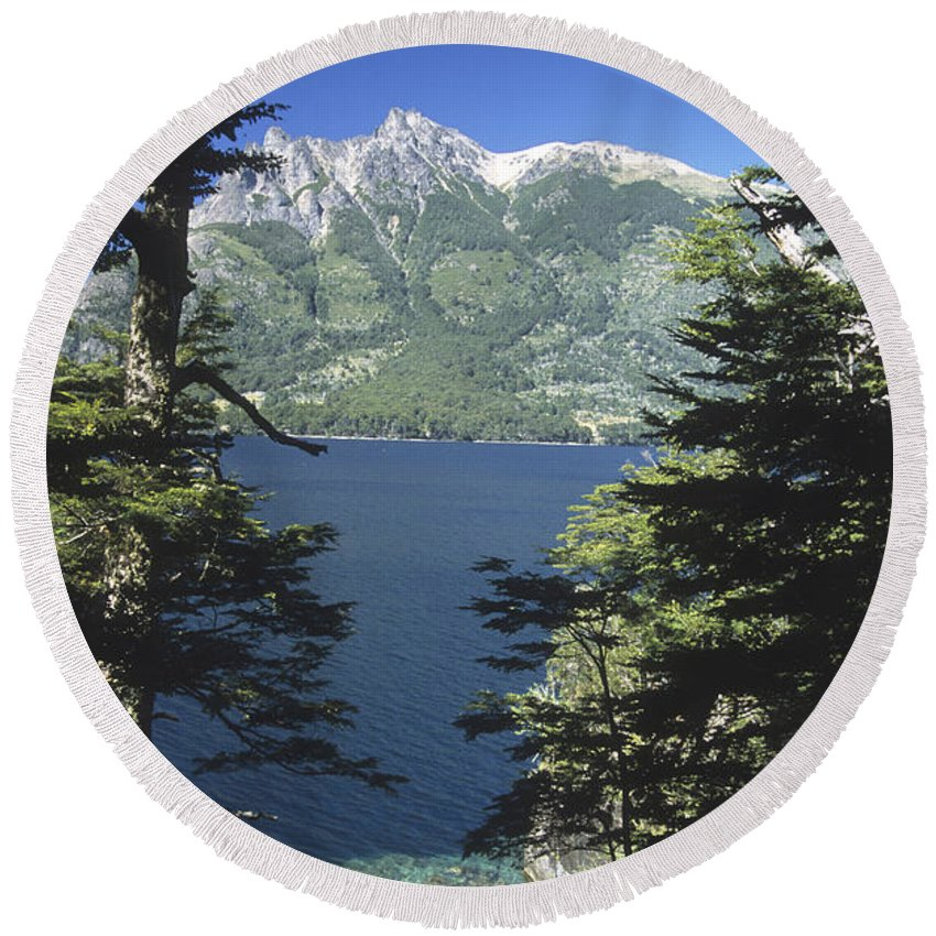 Argentina Round Beach Towel featuring the photograph Forest And Lakes Lanin National Park by James Brunker