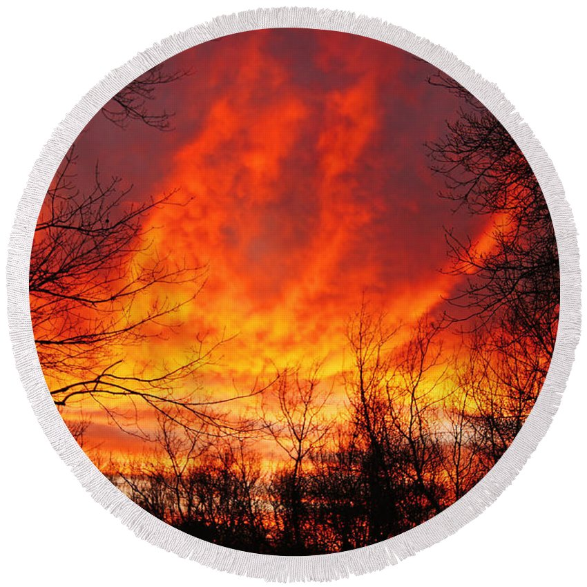 Sun Round Beach Towel featuring the photograph Forest Fire by Joe Geraci