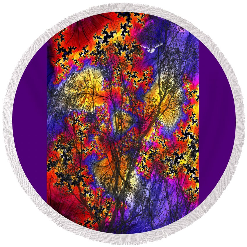 Forest Fire Round Beach Towel featuring the digital art Forest Fire by Lisa Yount