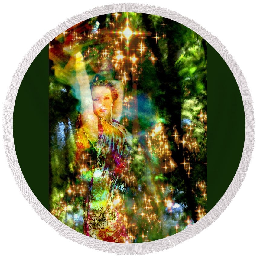 Forest Round Beach Towel featuring the digital art Forest Goddess 4 by Lisa Yount