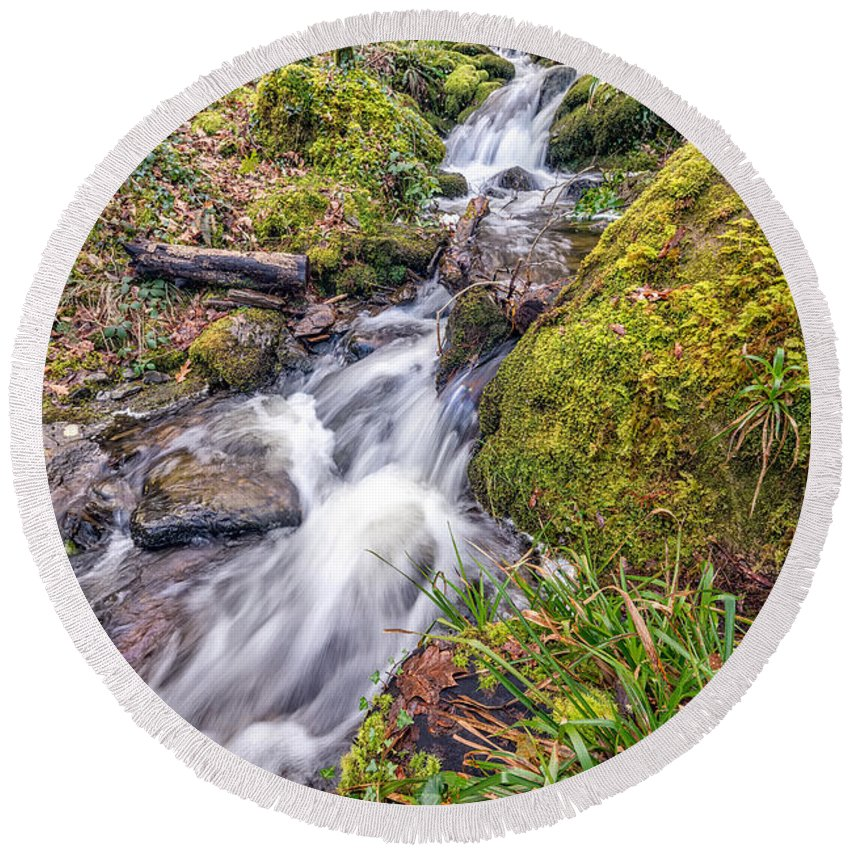 British Round Beach Towel featuring the photograph Forest Rapids by Adrian Evans