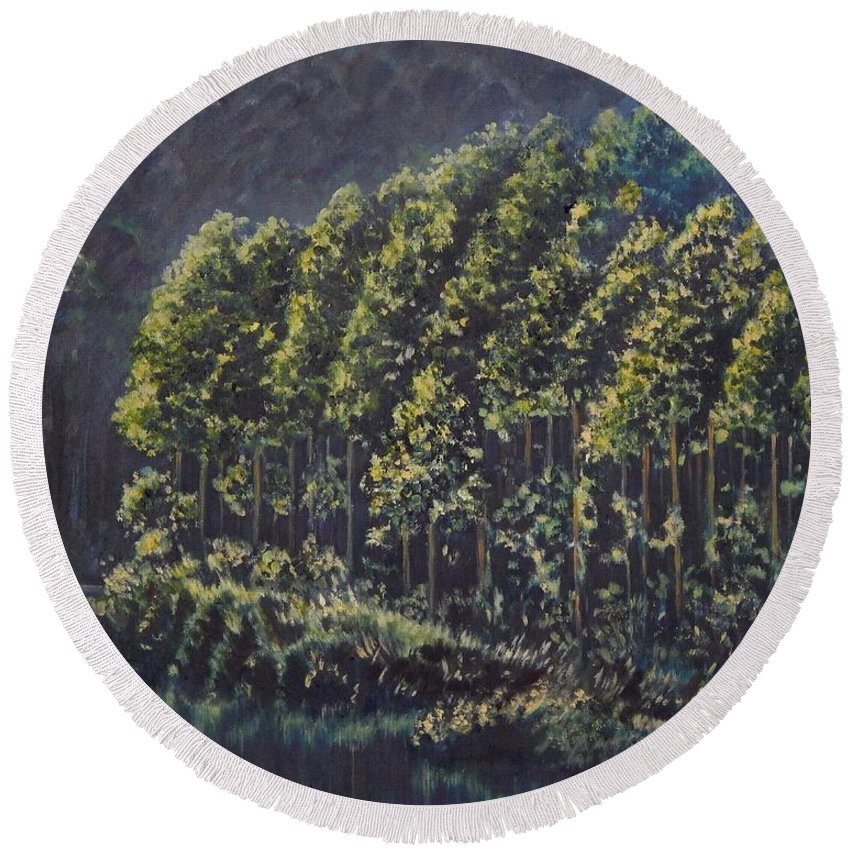 Landscape Round Beach Towel featuring the painting Forest Reflections by Caroline Street