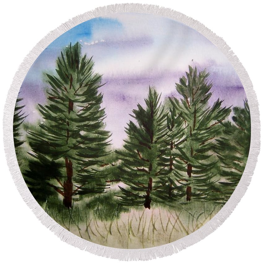 Evergreens Round Beach Towel featuring the painting Forest's Edge by B Kathleen Fannin