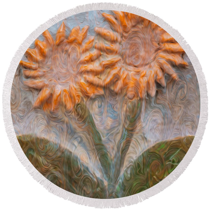 Georgia Okeefe Round Beach Towel featuring the painting Forever Loved by Omaste Witkowski