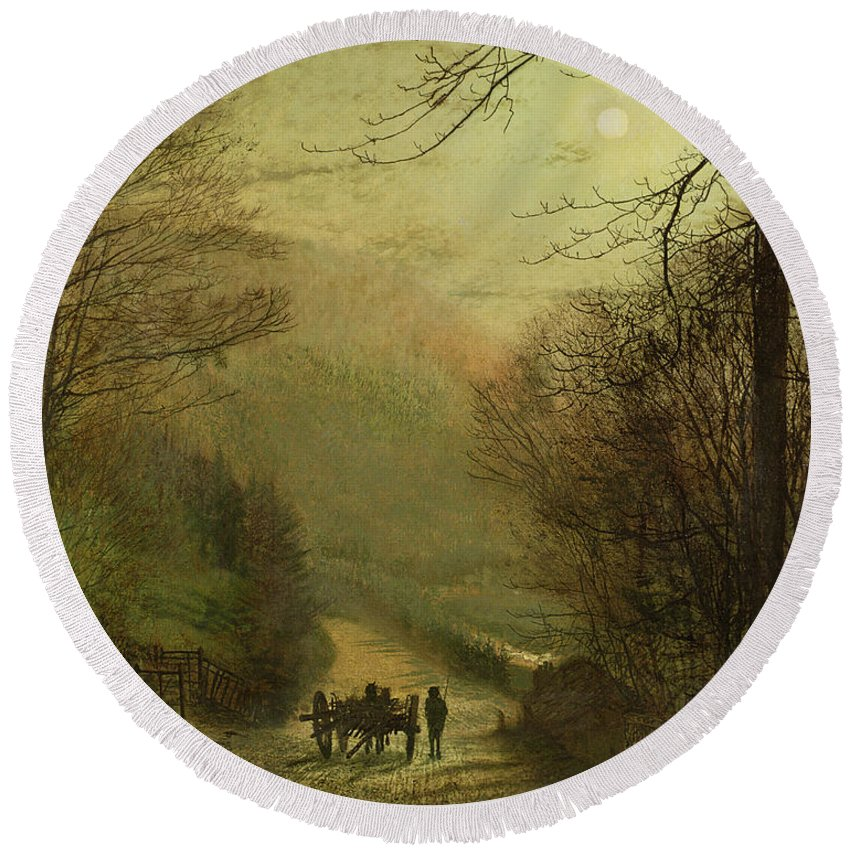 Grimshaw Round Beach Towel featuring the painting Forge Valley, Scarborough by John Atkinson Grimshaw