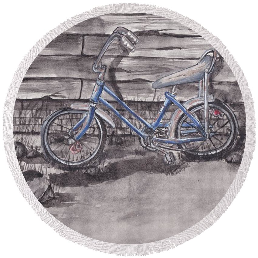 Bike Round Beach Towel featuring the painting Forgotten Banana Seat Bike by Kelly Mills