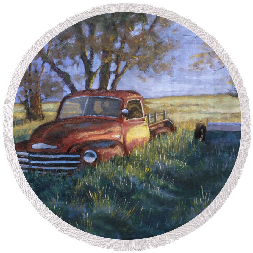 Pickup Truck Round Beach Towel featuring the painting Forgotten But Still Good by Jerry McElroy