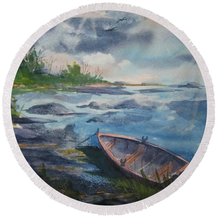 Rowboat Round Beach Towel featuring the painting Forgotten Rowboat by Ellen Levinson