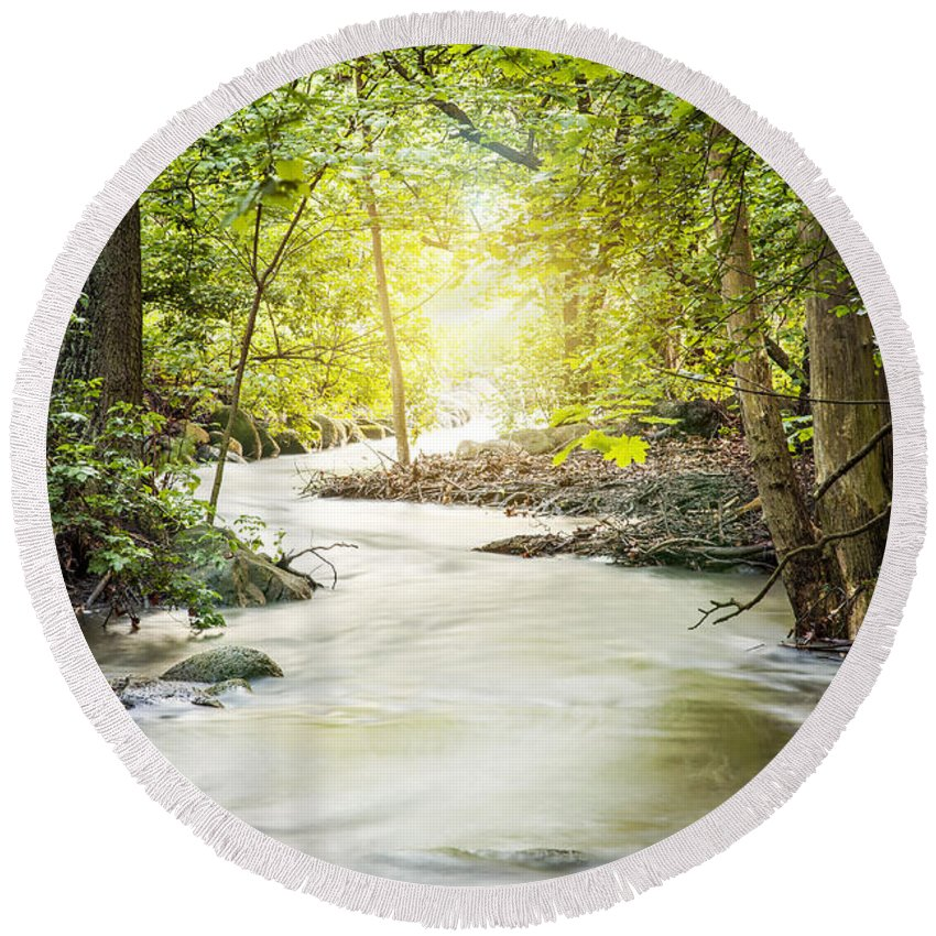 Europe Round Beach Towel featuring the photograph Forrest Stream by Sophie McAulay