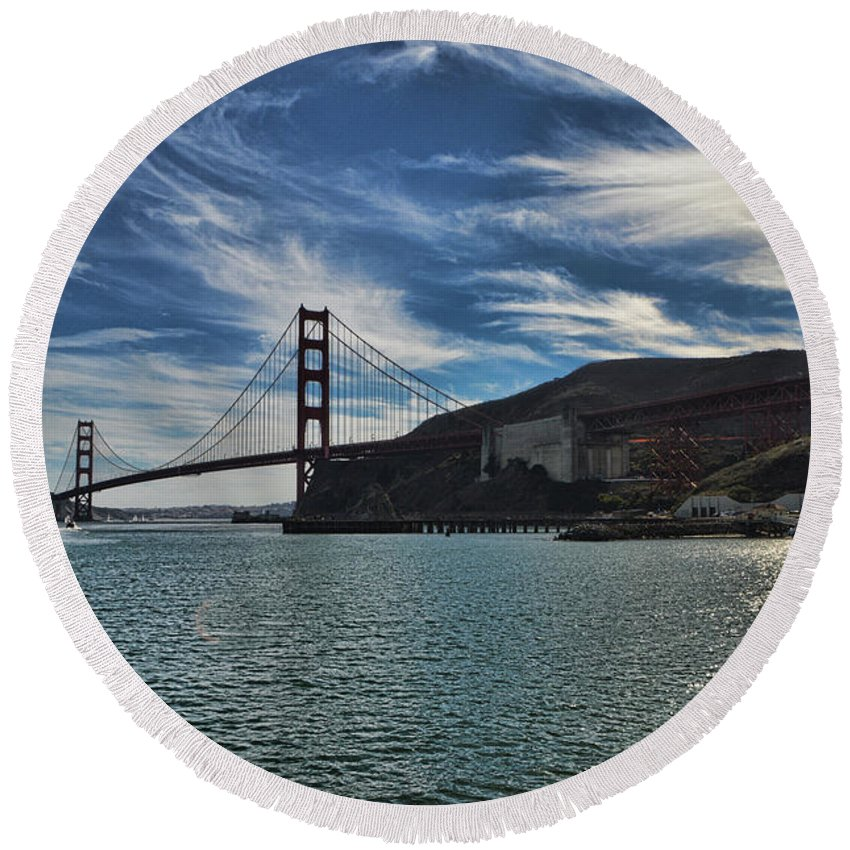 San Francisco Round Beach Towel featuring the photograph Fort Baker View by Tommy Anderson