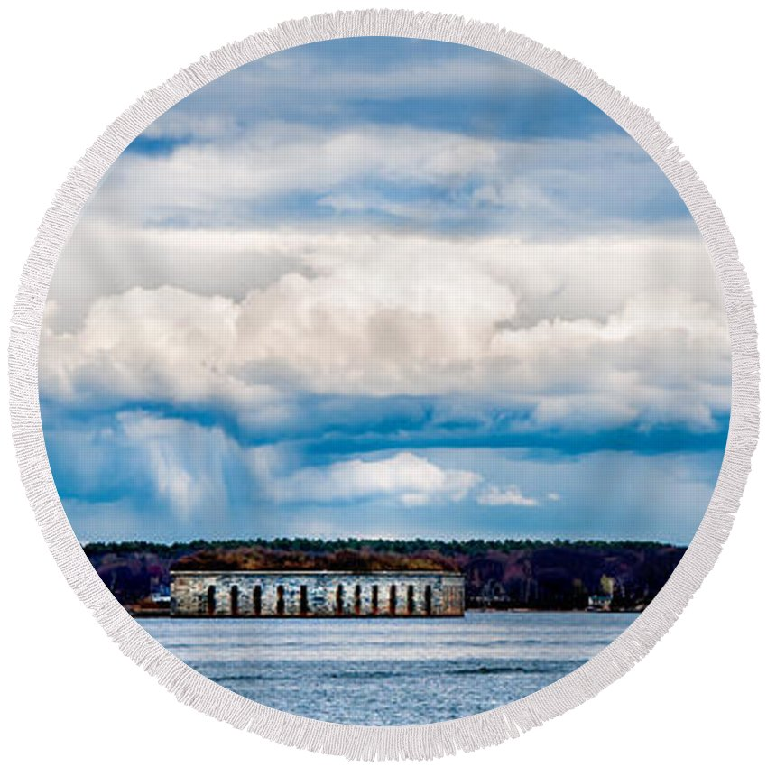 Mountains Round Beach Towel featuring the photograph Fort Gorges by Greg Fortier