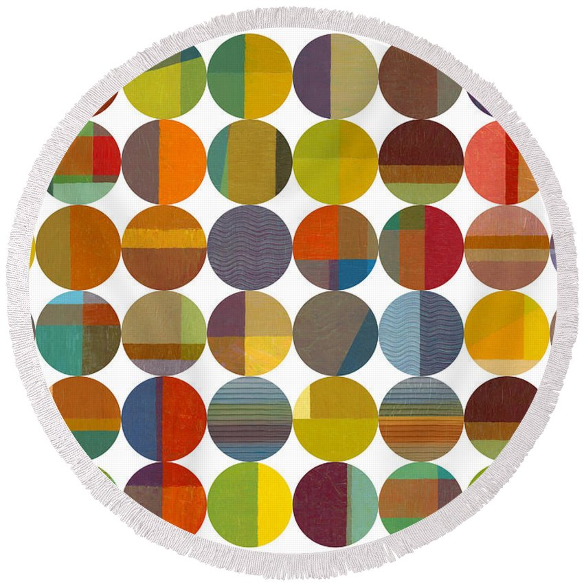 Colorful Round Beach Towel featuring the painting Forty Eight Circles 2.0 by Michelle Calkins