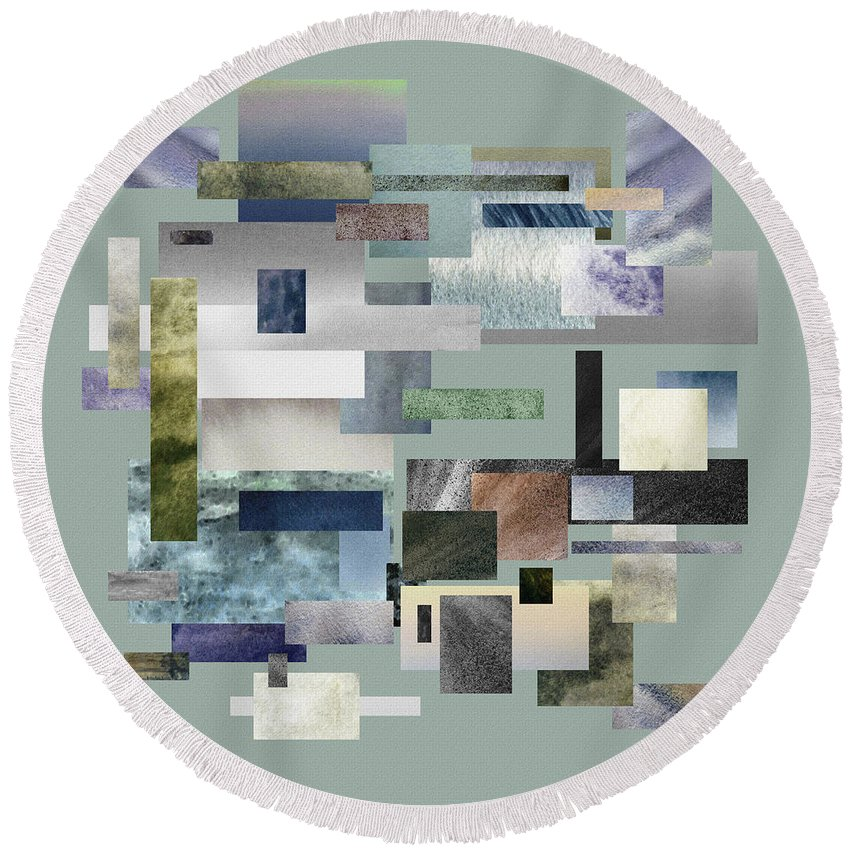 Gray Round Beach Towel featuring the painting Forty Nine Shades Of Gray IIi by Irina Sztukowski