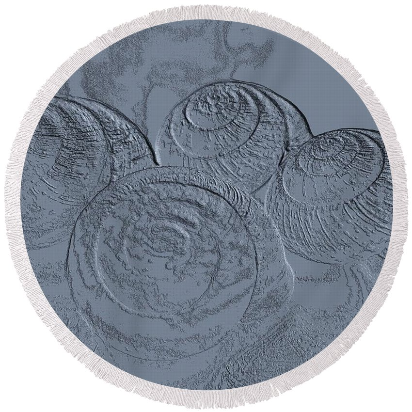 Fossils Round Beach Towel featuring the photograph Fossils by Martin Howard