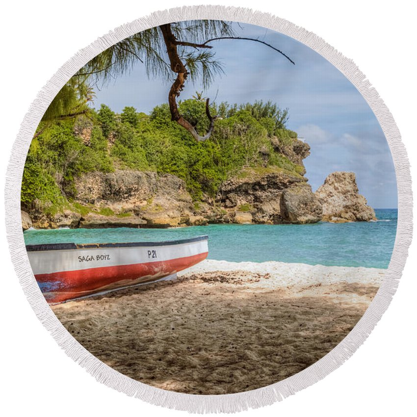 Barbados Round Beach Towel featuring the photograph Foul Bay by Garvin Hunter