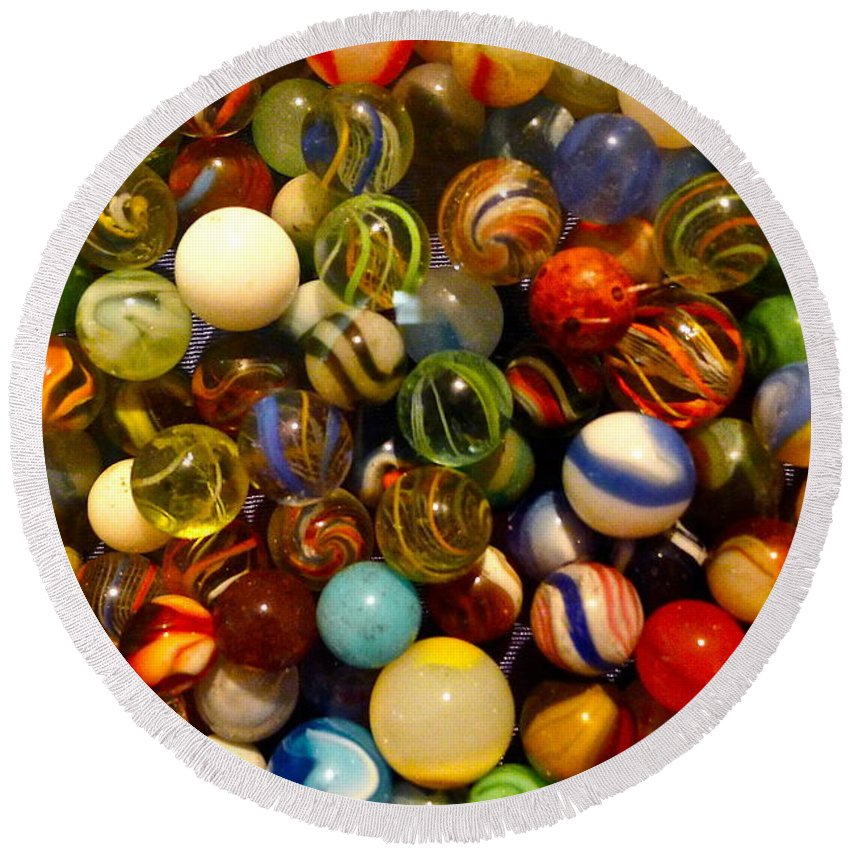 Marble Round Beach Towel featuring the photograph Found My Marbles by Denise Mazzocco