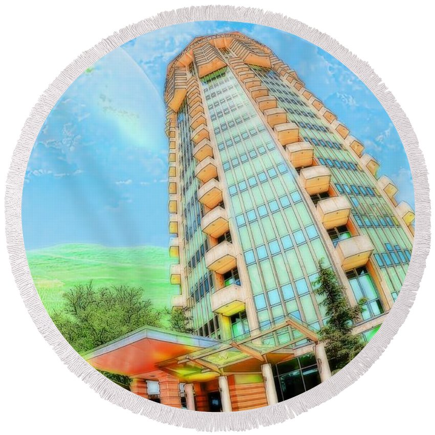 Liane Wright Round Beach Towel featuring the photograph Founder's Tower In Oklahoma City by Liane Wright