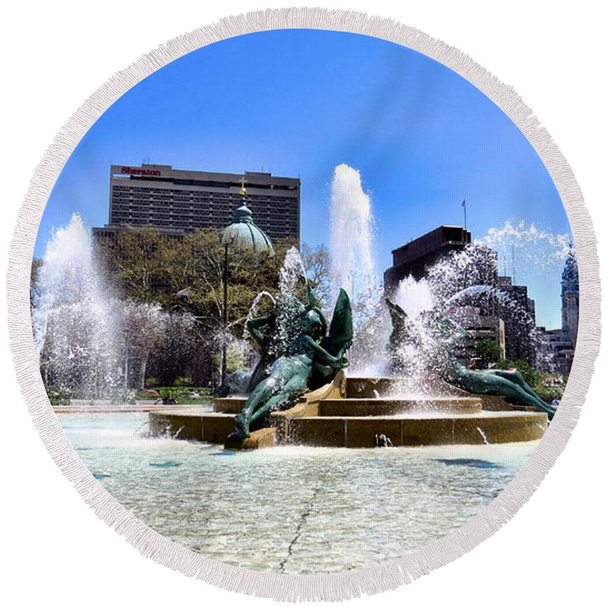 Span Round Beach Towel featuring the photograph Fountains by Art Dingo