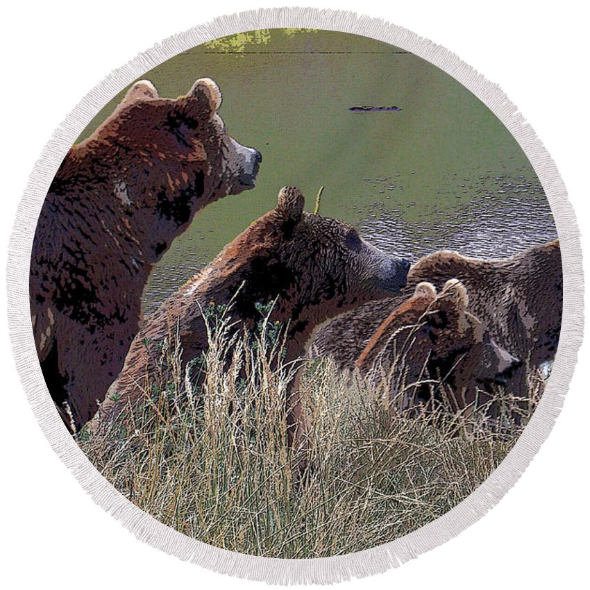 Brown Bears Round Beach Towel featuring the photograph Four Bears by Michele Avanti